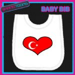 TURKEY HEART FLAG I LOVE WHITE BABY BIB EMBROIDERED